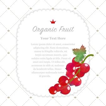 Texture aquarelle colorée nature cadre de mémo de fruits biologiques groseille rouge