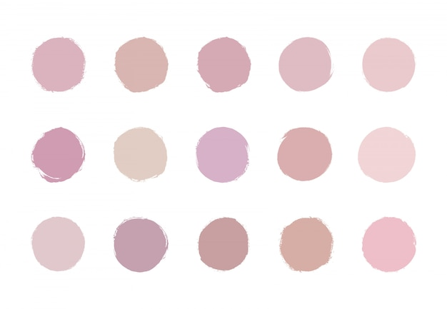 Texture aquarelle de coup de pinceau rose pastel doux rond. or rose, cercle nude lavé.