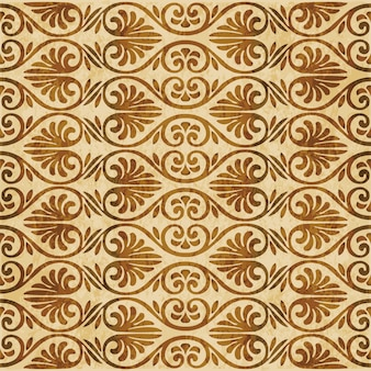 Texture aquarelle marron, modèle sans couture, fleur de forme éventail courbe