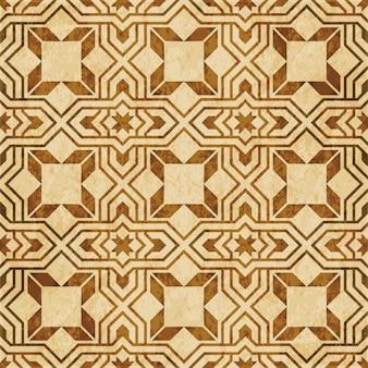 Texture aquarelle marron, modèle sans couture, géométrie étoile croix islamique arabe