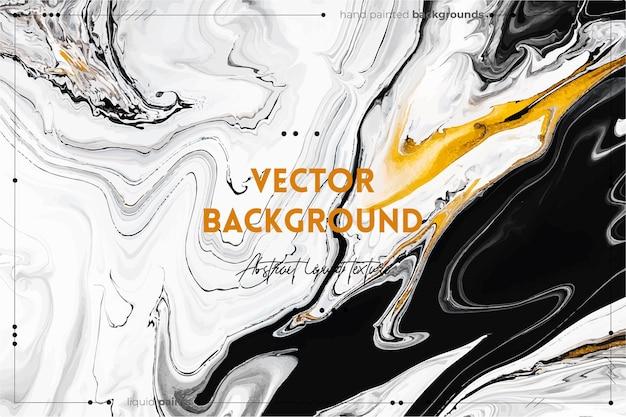 Texture d'art fluide. abstrait avec effet de peinture irisée. couleurs débordantes d'or, de noir et de blanc.
