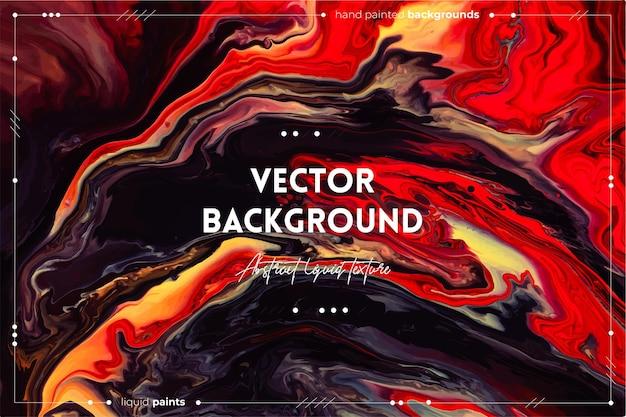 Texture d'art fluide. effet de peinture tourbillonnant abstrait. couleurs débordantes rouges, brunes, jaunes et noires.