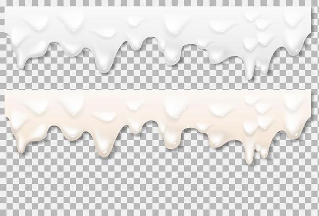 Texture blanche de mayonnaise liquide. texture réaliste de mayonnaise isolée sur fond transparent. fond de coulée de crème. maille de dégradé de vecteur.