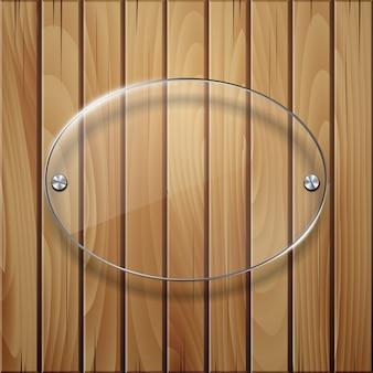 Texture en bois avec cadre en verre.