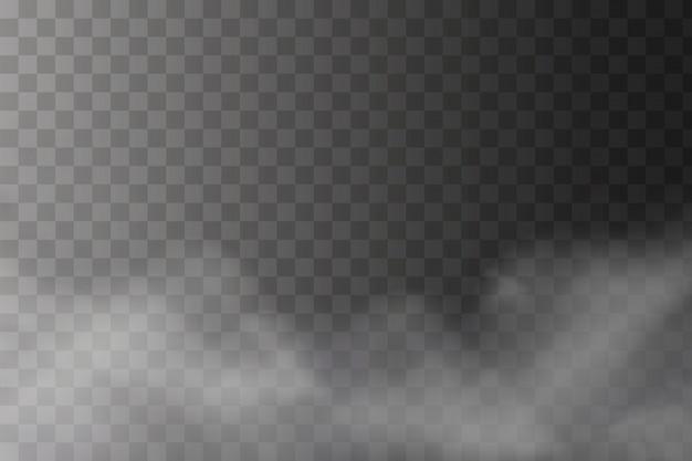 Texture de brouillard blanc isolé sur transparent