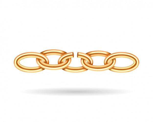 Texture de chaîne cassée or réaliste. maillon de chaîne de couleur jaune isolé sur blanc