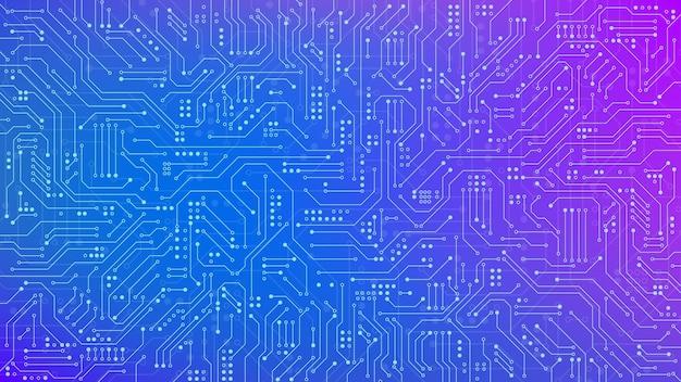 Texture de circuit imprimé de couleur pour bannière. connexion et lignes de la carte mère électronique