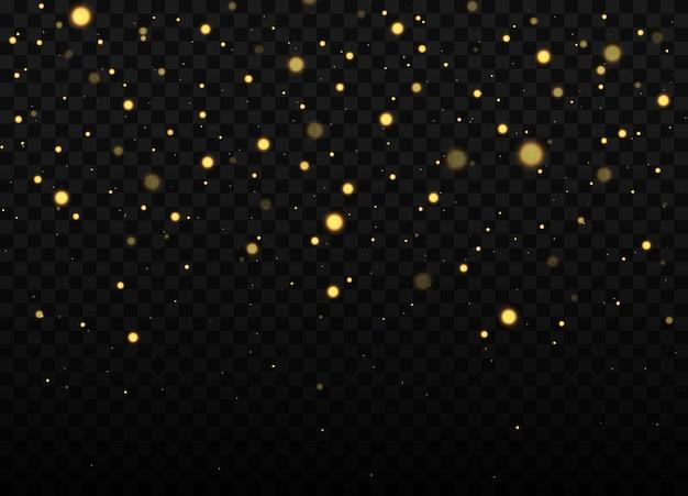 Texture de confettis et de paillettes dorées sur fond noir