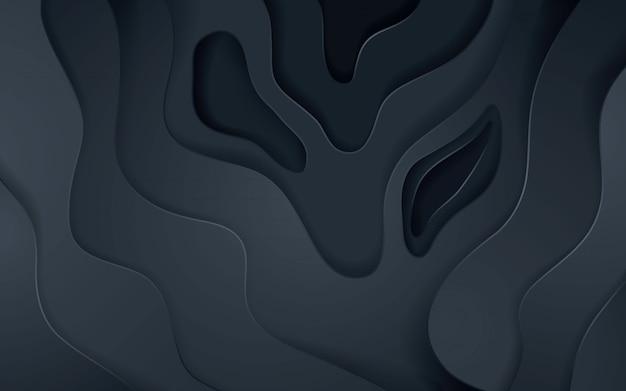 Texture de décoration abstraite en papier noir avec effet de superposition de couches