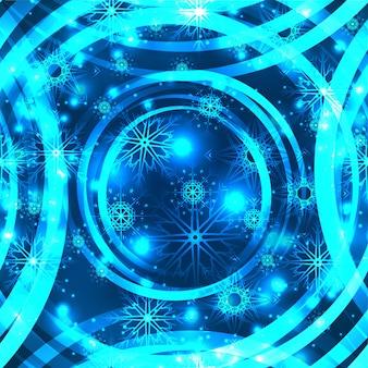 Texture festive sans couture avec des paillettes, des flocons de neige et des lignes circulaires.