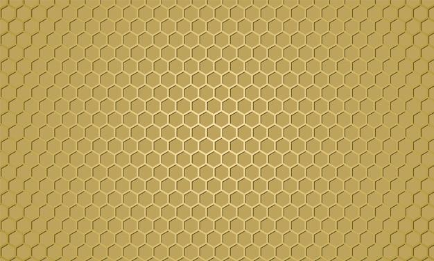 Texture de fibre de carbone dorée. fond en acier de texture hexagone métal or. abstrait en nid d'abeille.