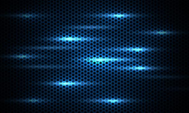 Texture de fibre de carbone hexagonale bleu marine fond bleu foncé avec des éclairs lumineux