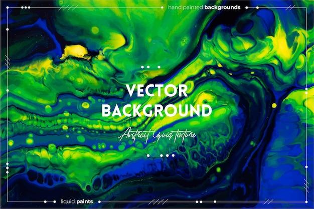 Texture fluide. couleurs débordantes vertes, bleues et jaunes.