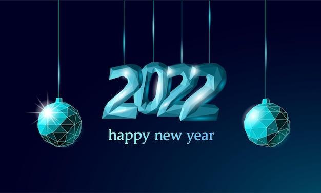 Texture de glace en métal 3d du nouvel an 2022. illustration de numéro de néon foncé bleu forme lumineuse. célébration décoration acier argent chrome affiche carte de voeux vecteur.