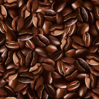 Texture de grains de café sans couture réaliste 3d