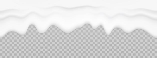 Texture liquide de lait. fond transparent de yaourt dégoulinant de crème