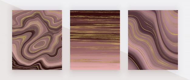 Texture de marbre liquide de couleur or rose. modèle abstrait de peinture à l'encre de paillettes rouges et dorées.
