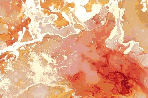 Texture de marbre de pierre abstraite rouge et or dans la technique d'encre à l'alcool avec des paillettes