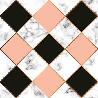 Texture de marbre de vecteur, modèle sans couture avec des lignes géométriques dorées