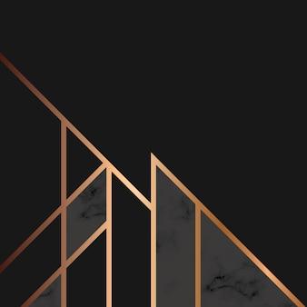 Texture marbrée avec des lignes géométriques dorées, surface marbrée noire et blanche