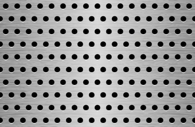 Texture en métal brossé perforé. motif en aluminium