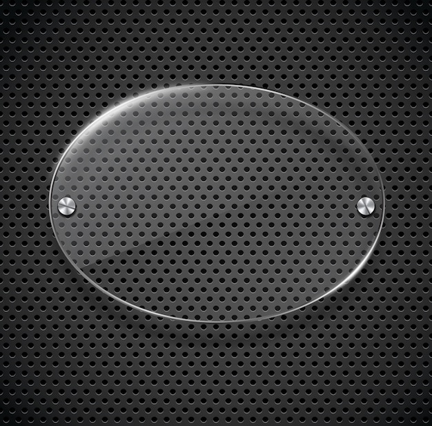 Texture métallique avec plaque de verre.