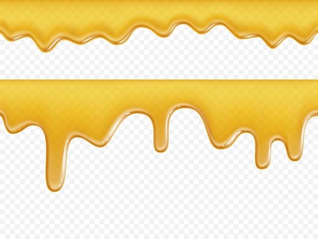Texture de miel qui coule sans soudure sur fond blanc