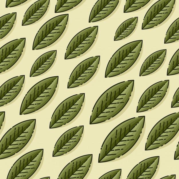 Texture de modèle décoratif transparente avec des feuilles vertes sur fond beige. modèle pour fonds d'écran, fond de site, impression, cartes, menu, invitation. illustration.