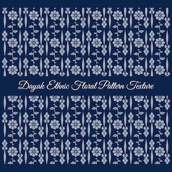 Texture de motif floral ethnique dayak bleu