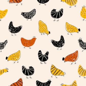 Texture de motif de pâques avec du poulet.