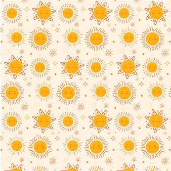 Texture de motif soleil design plat