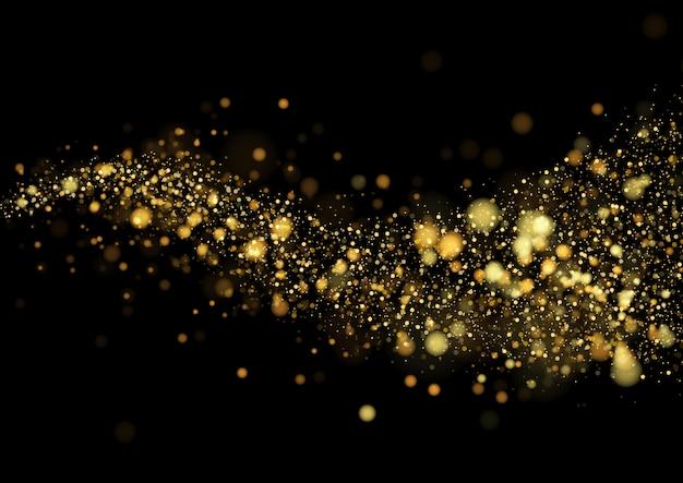 Texture de paillettes d'or isolé avec bokeh