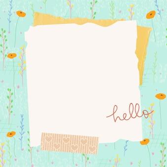 Texture de papier de cadre de champ de fleurs d'été