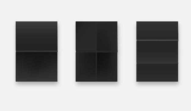 Texture de papier collé noir, jeu de feuilles de papier froissé humide. format a4.