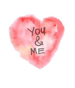 Texture de papier dessiné main rose aquarelle coeur isolé sur fond blanc