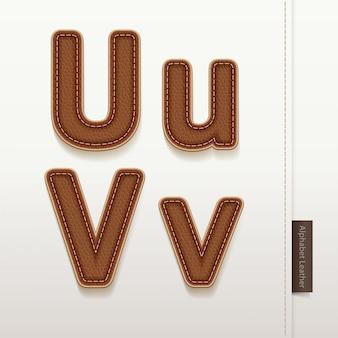 Texture de la peau en cuir alphabet.