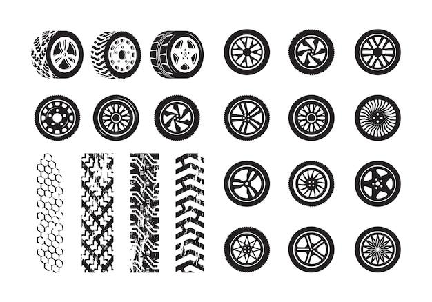 Texture de pneu. modèle de silhouettes d'image de pneus en caoutchouc de roue de voiture. illustration de pneu et roue de voiture de silhouette en caoutchouc