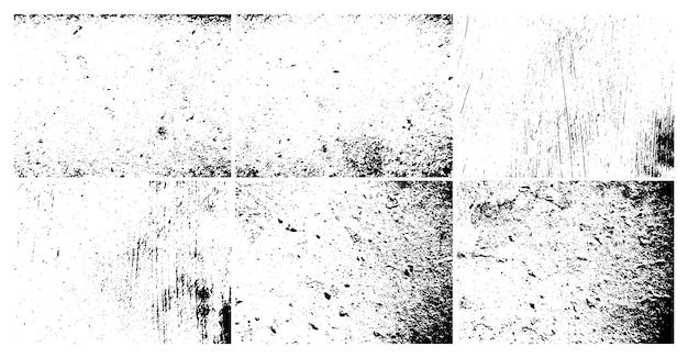Texture sale granuleuse grunge. ensemble de six arrière-plans abstraits de superposition de détresse urbaine. illustration vectorielle