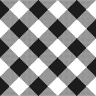 Texture de tissu noir et blanc. motif de nappe plate.