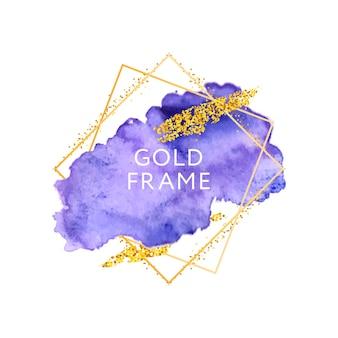 Texture de traits aquarelle dessinés à la main avec cadre doré