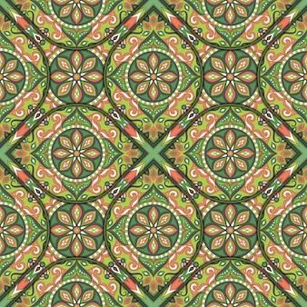 Texture transparente florale ornée, modèle sans fin avec des éléments de mandala vintage.