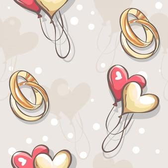 Texture transparente de mariage avec anneaux de mariage coeurs et ballons