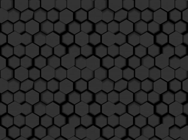 Texture transparente motif hexagonal noir avec des hexagones et des nuances 3d
