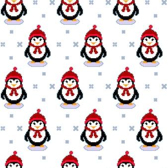 Texture transparente motif avec des pingouins de pixel art