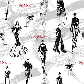 Texture transparente de vecteur avec les filles de la mode dans le style de croquis.
