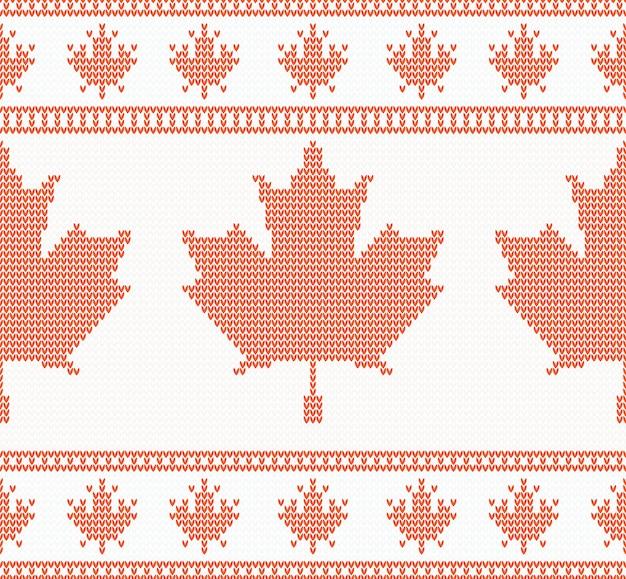 Texture tricotée transparente avec feuille d'érable
