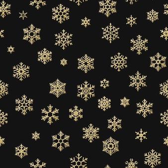 Texture de vacances transparente, motif de noël avec décoration de flocons de neige or pour textiles, brochure, carte.