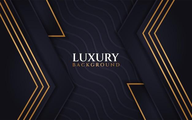 Texture de vague de fond sombre de luxe avec ligne or