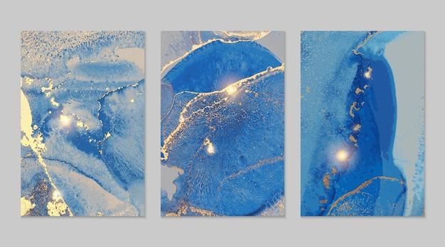 Textures abstraites en marbre bleu marine et or