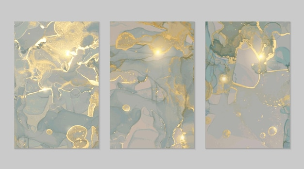 Textures abstraites de marbre gris bleu et or